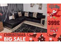 X-mass Sale BRAND new crush velvet CORNER 3 And 2 seater sofa