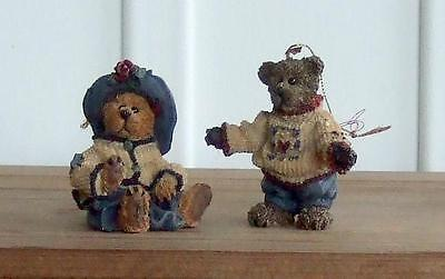 VTG Boyds Bears TWO (2) Christmas Ornaments Matthew Bailey LE 1996