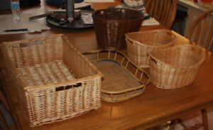 assorted baskets wicker , wicker lined and cloth