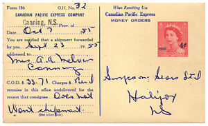 CANADIAN PACIFIC EXPRESS COMPANY C.O.D. REFUSAL CARD 1955