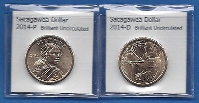 SACAGAWEA DOLLARS: 2014 P AND 2014 D FROM MINT ROLLS