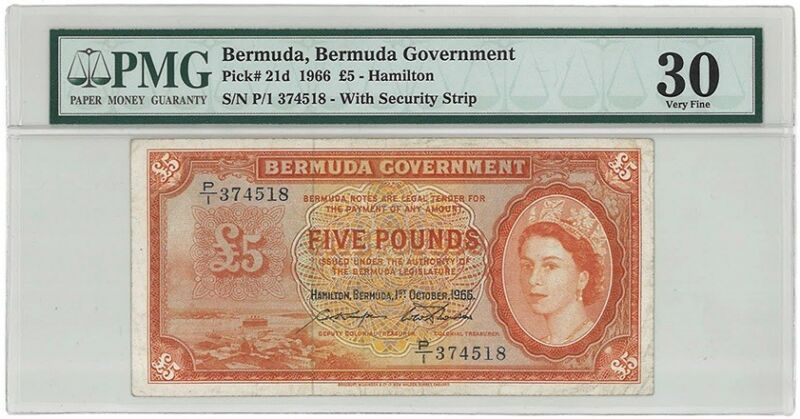 Bermuda 5 pounds 1966 PMG 30, pick 21d