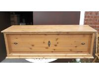 Long Solid Pine Blanket Box, Trunk Or Coffee Table With Iron Handles