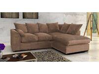 In Just 2️⃣7️⃣9️⃣ GET BRAND NEW Italian Padded Dylan Jumbo Cord Corner/3+2 Sofa in Mink Brown & Grey