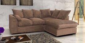 🔥🔥BLACK BROWN MINK OR GREY🔥🔥 New Dylan Jumbo Cord Corner or 3+2 Sofa - Avlble in Left/Right Hand
