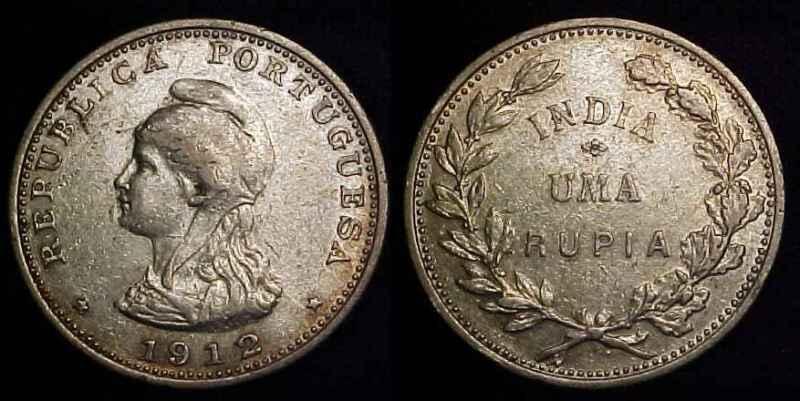 INDIA- PORTUGUESE 1912/1 Silver 1 Rupia VF
