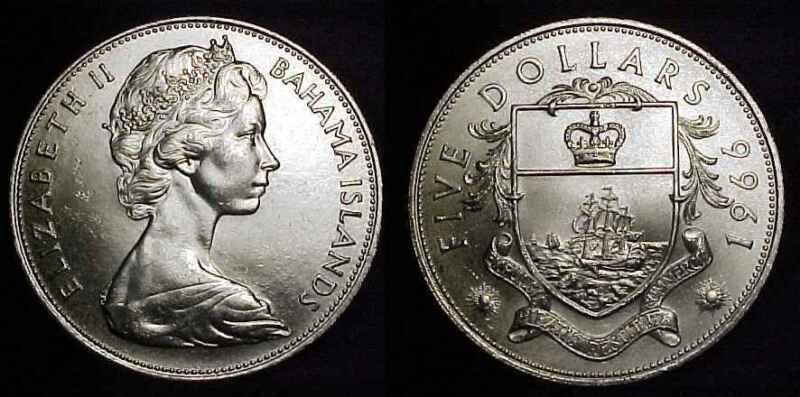 BAHAMAS 1966 Silver 5 Dollars Ch BU
