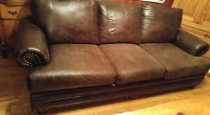 BROWN COUCH AND CHAIR WITH NAILHEAD TRIM Cornwall Ontario image 3