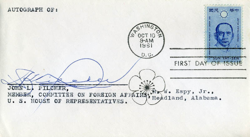 JOHN L. PILCHER - FIRST DAY COVER SIGNED