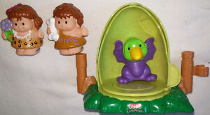 Fisher Price Little People Caveman, Cavewoman, Dinosaur and Egg