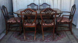 ** 2 Elegant Antique Dining Sets, Drexel/Malcolm, refinished **