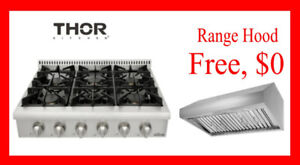Thor Kitchen Professional Gas Range top with hood bundle $1249!