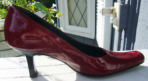 Dark Red Patent Roberto Vianni Pumps, Worn Once