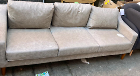 Large grey Leather sofa only £125. CLOSING DOWN SALE. Furniture Supers