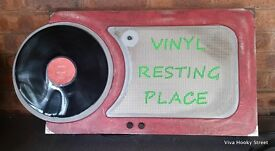 Vinyl Resting place Sign multicoloured lights, numerous settings, spinning record