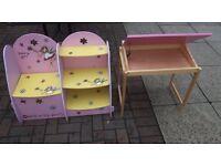 Kiddies desk chair and book case