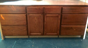 Sales counter/kitchen island made from antique doors