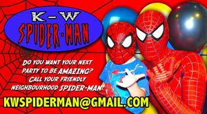 K-W Spider-Man superhero birthday party appearance