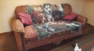 anitique couch with a recliner chair