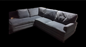 Custom Made Couch. L Shape Grey Velvet Microfiber