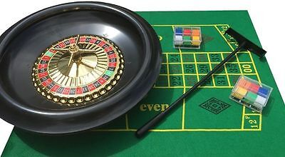 HUGE 16 INCH BOXED ROULETTE SET -WHEEL FELT 120 CHIPS RAKE GREAT VALUE
