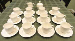 MIKASA ANTIQUE WHITE CUPS, SAUCERS, CREAMER, PLATES - PICS IN AD