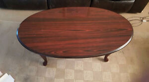 solid cherry wood end tables and coffee table