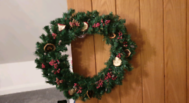 Handmade Faux Fir Wreath with Real Dried Fruits (open to offers)