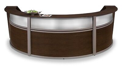 Triple Unit Reception Desk In Walnut Finish With Plexi Glass And Silver Frame