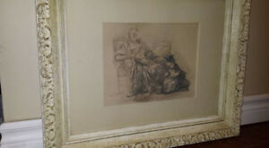 Reading Woman With Child Vintage Framed Quality Print: Chardin!