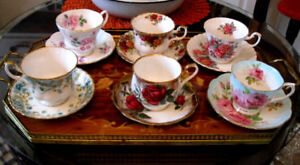 Superbe Collection tasses porcelaine fine Royal Albert $25.00 ch