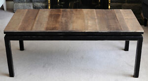 Rustic Coffee Table with Glass Top