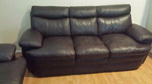 EUC GENUINE LEATHER COUCH AND LOVESEAT