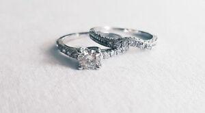 14KT White Gold Diamond Engagement Ring and Wedding Band set