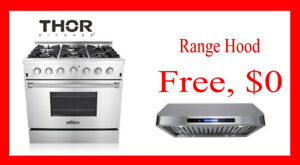 Thor Kitchen  Freestanding Gas Range & Hood bundle $1899!
