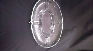 Oval Clear Glass Divided Serving Dish