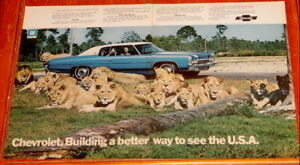 1972 CHEVY IMPALA COUPE WITH LIONS LARGE AD - ANONCE VINTAGE 70S