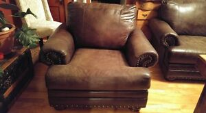 BROWN COUCH AND CHAIR WITH NAILHEAD TRIM Cornwall Ontario image 4