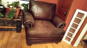 BROWN COUCH AND CHAIR WITH NAILHEAD TRIM Cornwall Ontario image 1
