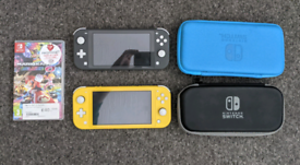 Two Nintendo Switch Lites and Mario Kart