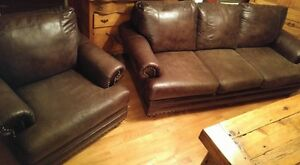 BROWN COUCH AND CHAIR WITH NAILHEAD TRIM Cornwall Ontario image 2