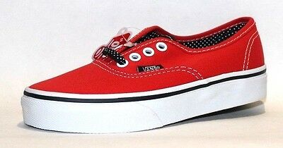 Vans Kids Authentic Skate Shoe, Color  (Polka Dots)/ High Risk Red/Black ()