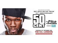 6 x tickets for 50 Cent concert at the 02 arena Thursday 20th September 2018