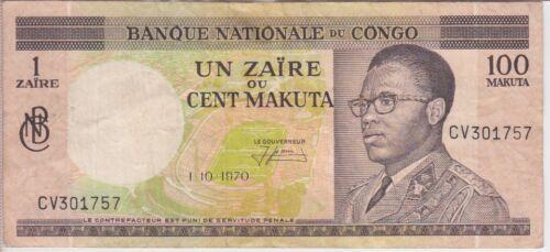 CONGO DEMOCRATIC REP BANKNOTE P72b-1757 1 ZAIRE 1.10.1970, VF