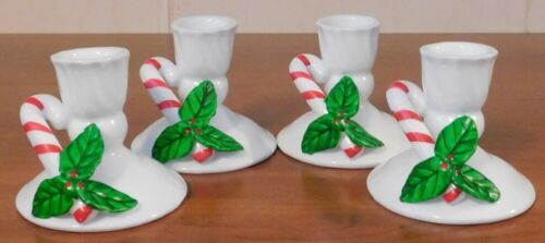 Vintage Candle Holders White with Holly and Candy Cane Set of 4 EUC