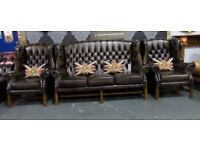 Immaculate Chesterfield Georgian Suite 3 Seater Sofa & 2 Wing Chairs Tan Leather - UK Delivery