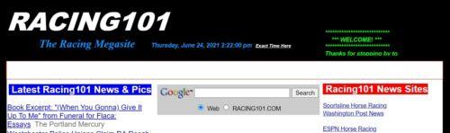 RACING101.COM  HORSE Racing, CAR Racing, Super Domain name+monetized website!
