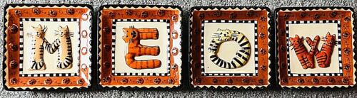 """Four Small Plates Spelling MEOW - Scarce to Find! Cat Lovers Dream! 4.5"""" Each"""