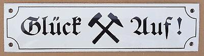 Glück auf Email Schild Emailschild Bergbau Eisenbahn Emaille Schild