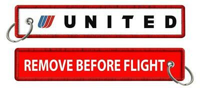 United Airlines-Tulip-Remove Before Flight Keyrings X2